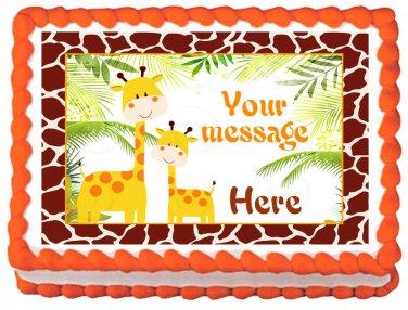 "Edible GIRAFFE Jungle image cake topper 1/4 sheet (10.5"" x 8"")"