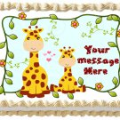 "Edible GIRAFFE Mom and Baby image cake topper 1/4 sheet (10.5"" x 8"")"