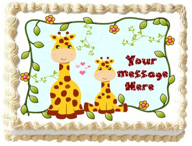 "Edible GIRAFFE Mom and Baby image cake topper 1/4 sheet (10.5"" x 8"")"