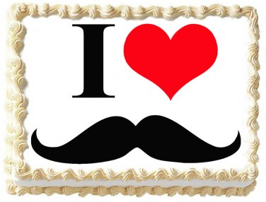 "Edible LOVE MUSTACHE image cake topper 1/4 sheet (10.5"" x 8"")"