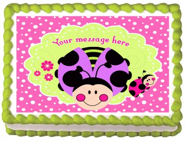 "Edible PINK LADY BUG image cake Topper 1/4 sheet (10.5"" x 8"")"