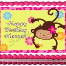 "Edible GIRL MONKEY image cake Topper 1/4 sheet (10.5"" x 8"")"