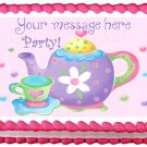"Edible PURPLE TEA POT image cake Topper 1/4 sheet (10.5"" x 8"")"