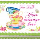"Edible TEA CUP SET image cake topper 1/4 sheet (10.5"" x 8"")"