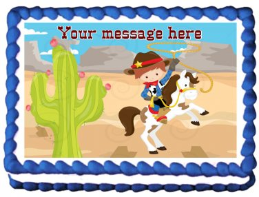 "Edible COWBOY Horse image cake Topper 1/4 sheet (10.5"" x 8"")"