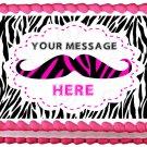 "Edible PINK MUSTACHE image cake Topper 1/4 sheet (10.5"" x 8"")"