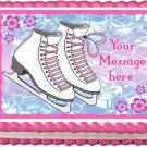 "Edible WHITE ICE SKATES image cake Topper 1/4 sheet (10.5"" x 8"")"