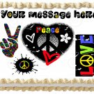 "Edible PEACE AND LOVE image cake Topper 1/4 sheet (10.5"" x 8"")"