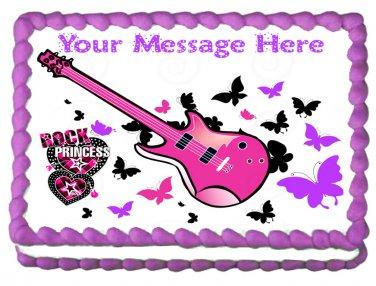 """Edible ROCKSTAR PRINCESS image cake Topper 1/4 sheet (10.5"""" x 8"""")"""