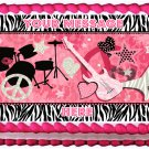 "Edible GIRL ROCKSTAR image cake Topper 1/4 sheet (10.5"" x 8"")"