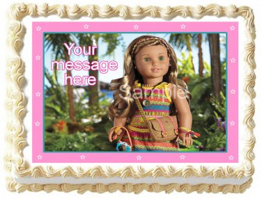 "Edible AMERICAN GIRL LEAH image cake Topper 1/4 sheet (10.5"" x 8"")"