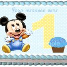 "Edible BABY MICKEY 1st year image cake Topper 1/4 sheet (10.5"" x 8"")"