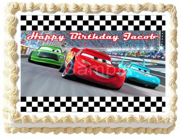 "Edible CARS MACQUEEN RACE image cake Topper 1/4 sheet (10.5"" x 8"")"