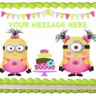 "Edible MINIONS GIRLS PINK image cake Topper 1/4 sheet (10.5"" x 8"")"