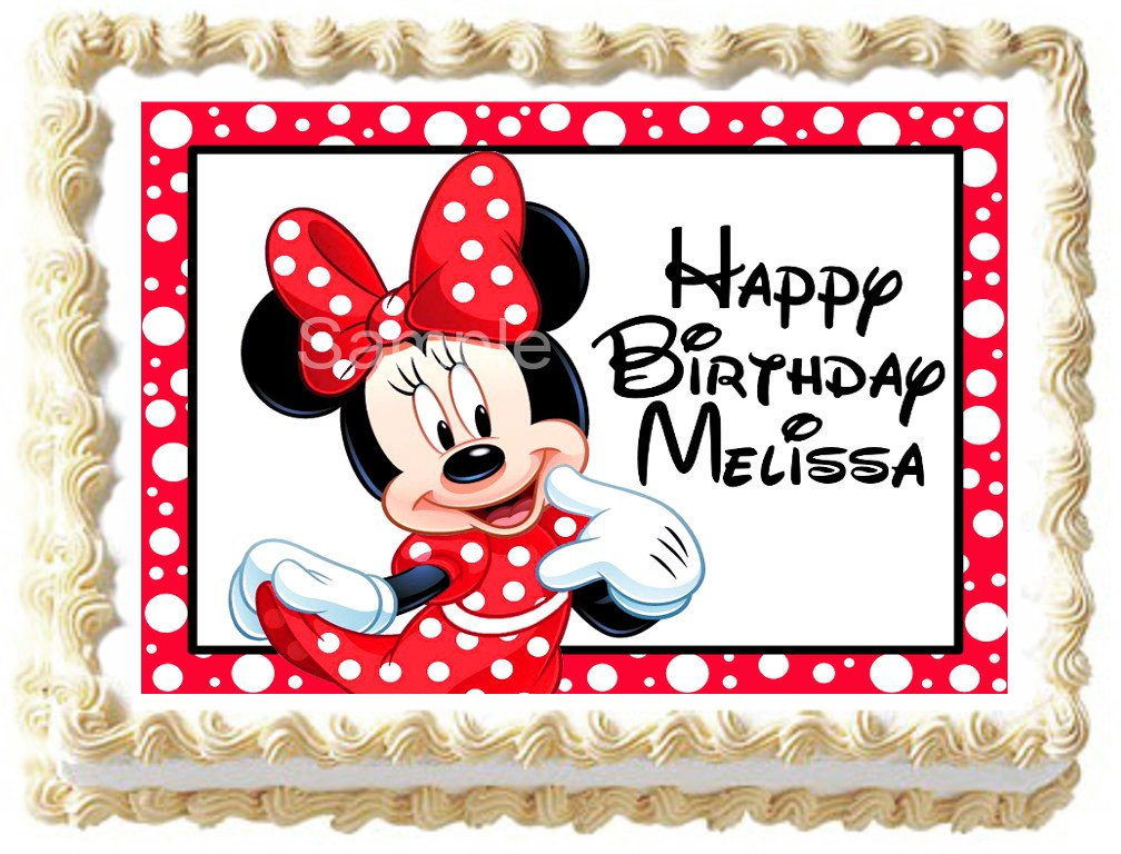 """Edible MINNIE MOUSE image cake Topper 1/4 sheet (10.5"""" x 8"""")"""