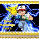 "Edible POKEMON Ash and Pikachu image cake Topper 1/4 sheet (10.5"" x 8"")"