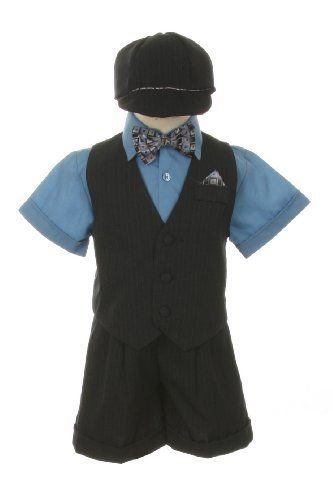 Dress Shorts Suit Tuxedo Outfit Set-Baby Boys & Toddler, Blue-Gray Pinstripe