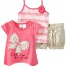 Baby Togs Little Girls 3 Piece Pink Butterfly Top Tank Top Zebra Khaki Shorts