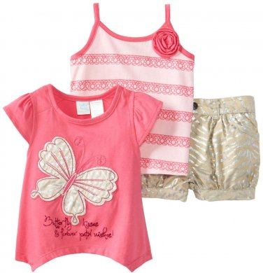 Baby Togs Little Girls 3 Piece Pink Butterfly Top Tank Top Zebra Khaki Shorts