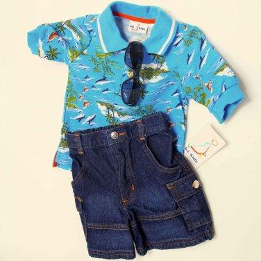 BT Kids Newborn Baby Boys 3 Piece Blue Beach Polo Shirt White T-shirt Jeans Set