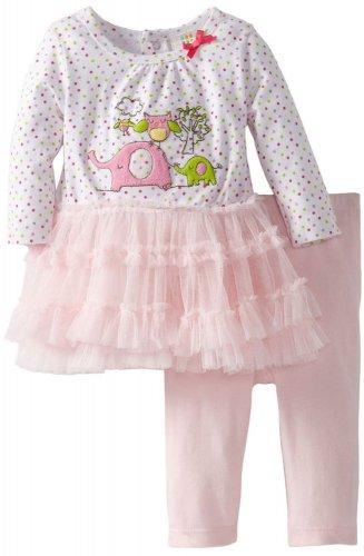Absorba Newborn Baby Girls 2 Piece Pink Green Polka Dot Tutu Dress Leggings Set