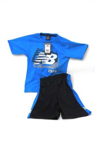 New Balance Boys 2 Piece Athletic Blue T-shirt Mesh Basketball Shorts 5/6