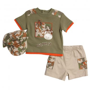 BT Kids Newborn Baby Boys3Piece Green Camo Shirt Khaki Shorts Set 6-9 Mo. w/hat