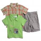 BT Kids Newborn Baby Boys 3 Piece Green T-shirt Plaid Button Up Chino Shorts Set
