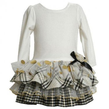 BonnieBaby Drop-Waist Tiered-Skirt Dress White Black and Gold 12Month