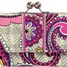 VERA BRADLEY Small Kisslock Wallet Paisley Meets Plaid trifold