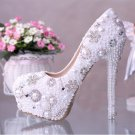 Party Shoes, Prom Shoes, Bridal Shoes--Round Toe Mixed Pearls with Crystal Pumps, Wedding Heels