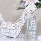 Party Shoes,Bridal Shoes,Wedding Shoes--Pretty Flower Crystal with Pearl Tassel Pattern Bridal Pumps