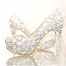 Bridal Shoes, Wedding Shoes , Party Shoes--Full Mixed Crystal Rhinestone Pattern Platform Shoes