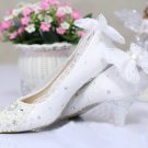 Party Shoes,Prom Shoes,Bridal Shoes,Wedding Shoes--Lace with bowknot and Elegant Pearls Bridal Heels