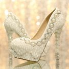 Party Shoes, Wedding Heels, Bridal Shoes--Elegant Pearls and Crystal Rhinestone Wedding Shoes