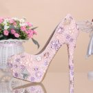 Wedding Shoes, Bridal Heels, Party Shoes-Pink Pearls with Crystal Rhinestone Flower Prom Shoes