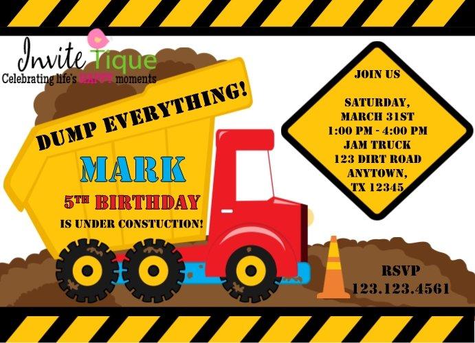 Construction Zone Birthday invitations