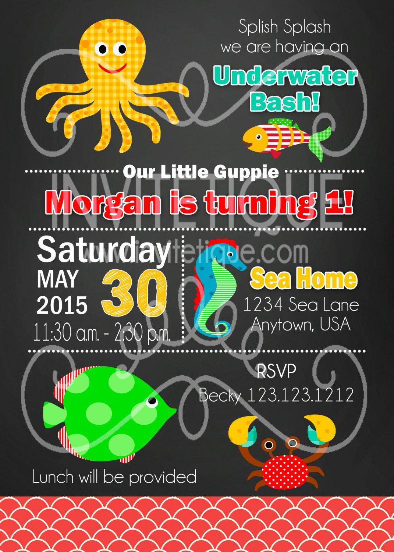 Under the Sea Party Birthday Invites - Printable - Under the sea - DIGITAL FILE - PRINTABLE