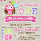 Pink Owl Invitation - birthday invitation any age birthday invite in owl theme-