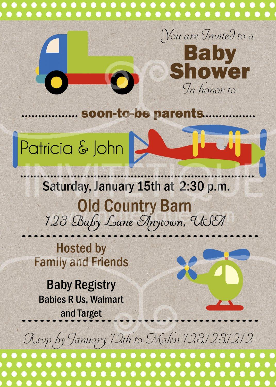 Cars Trucks Planes Green Apple Baby Shower Invitation, Transportation Party, DIY