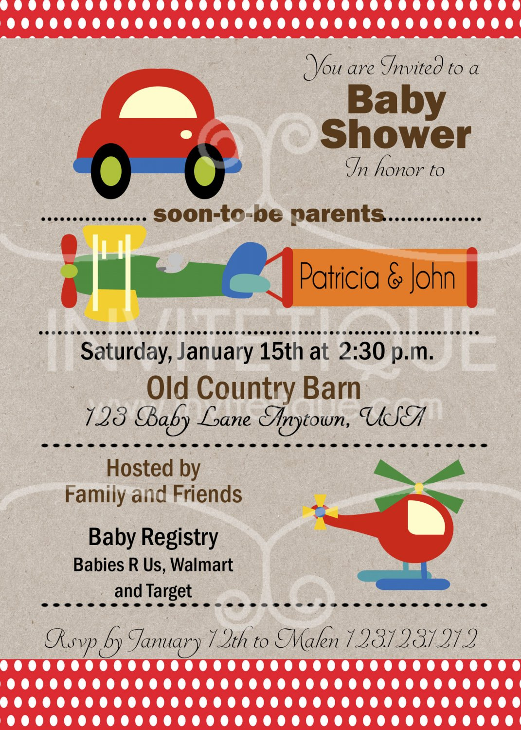 Cars Trucks Planes Red Baby Shower Invitation, Transportation Party, DIY