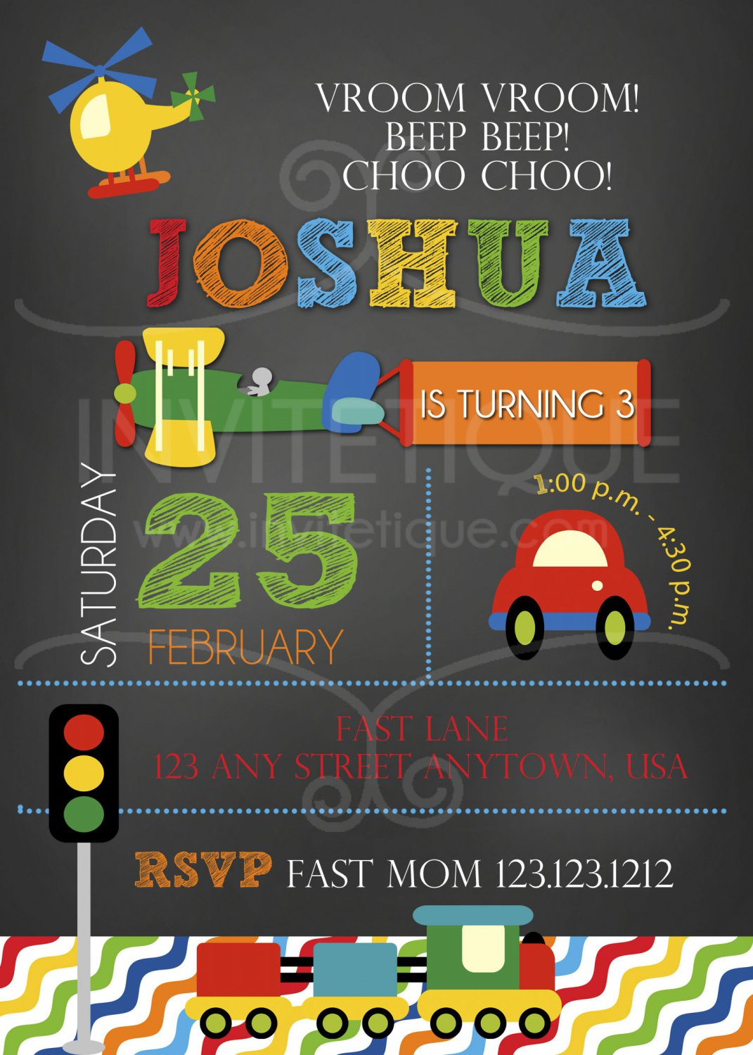 Cars Trucks Planes Birthday Invitation, Transportation Party, DIY