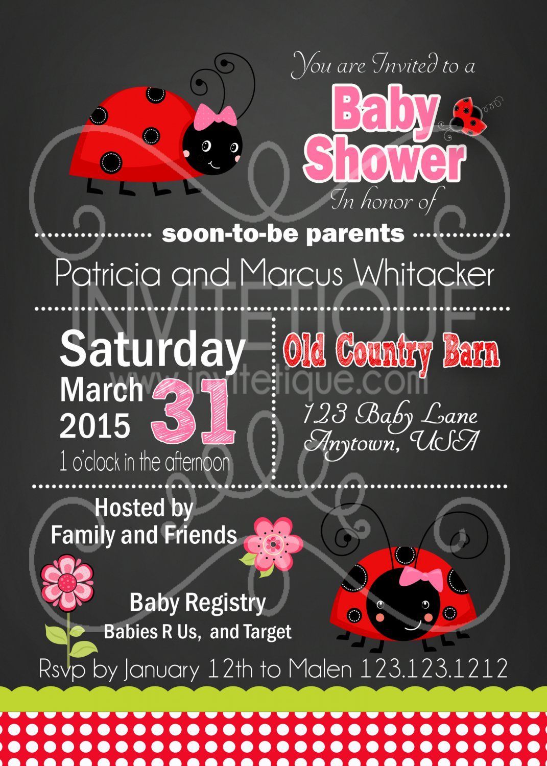 Ladybug Baby Shower Invitation | 1st Birthday Party Invitation | Birthday Invitations Printable