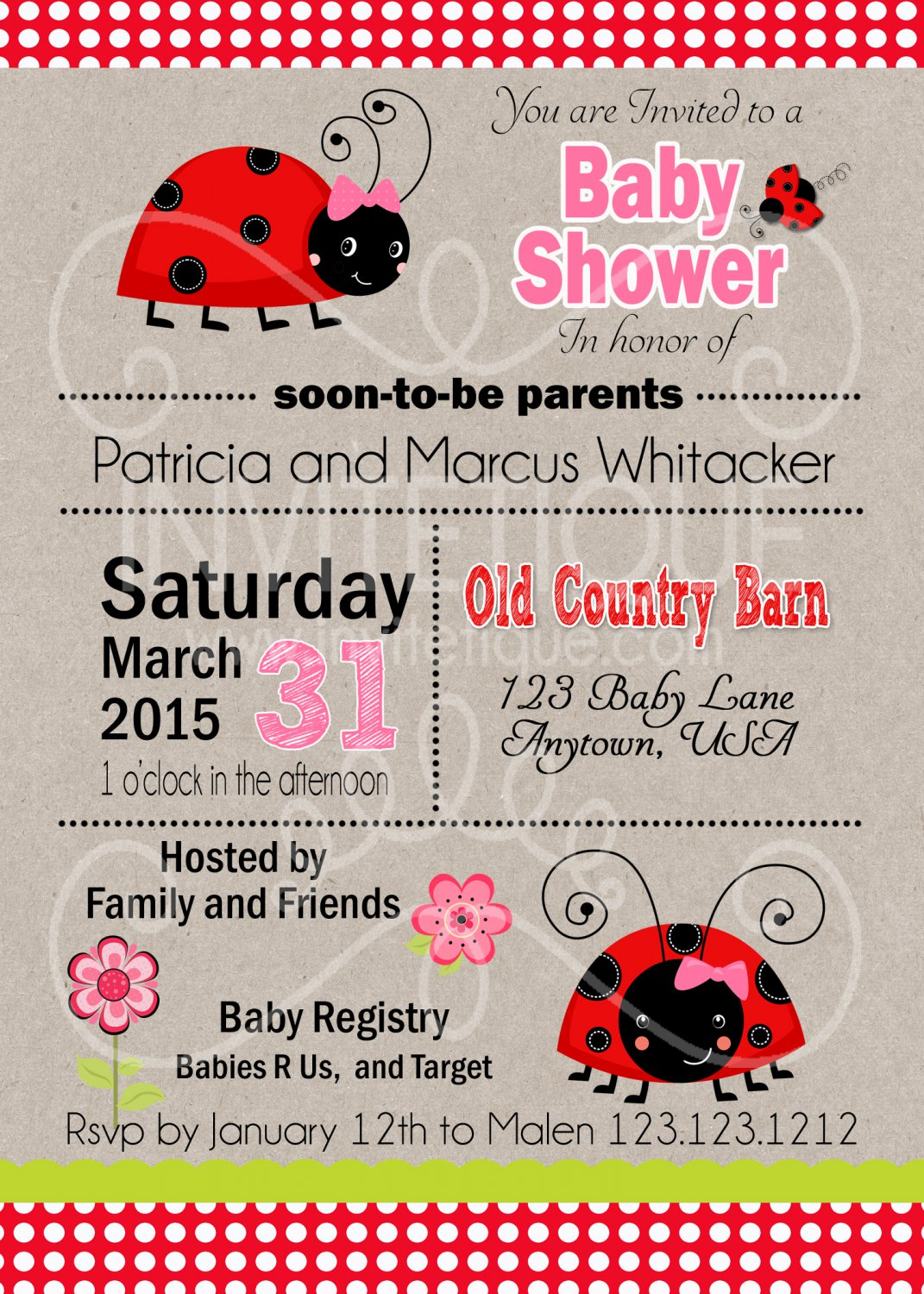 Ladybug Birthday Invitation Baby Shower Party Invitation Birthday Invitations Kraft Printable