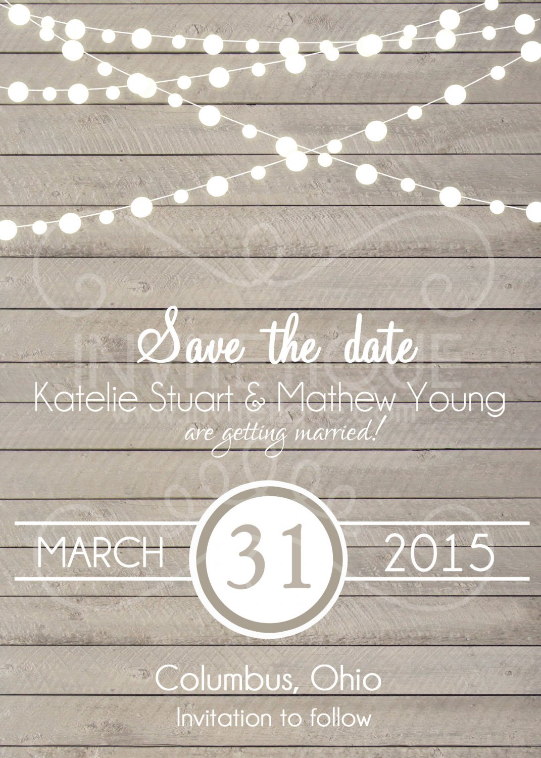 Rustic Save the Date Invitation, Light wood Wedding Card, wood, Digital File
