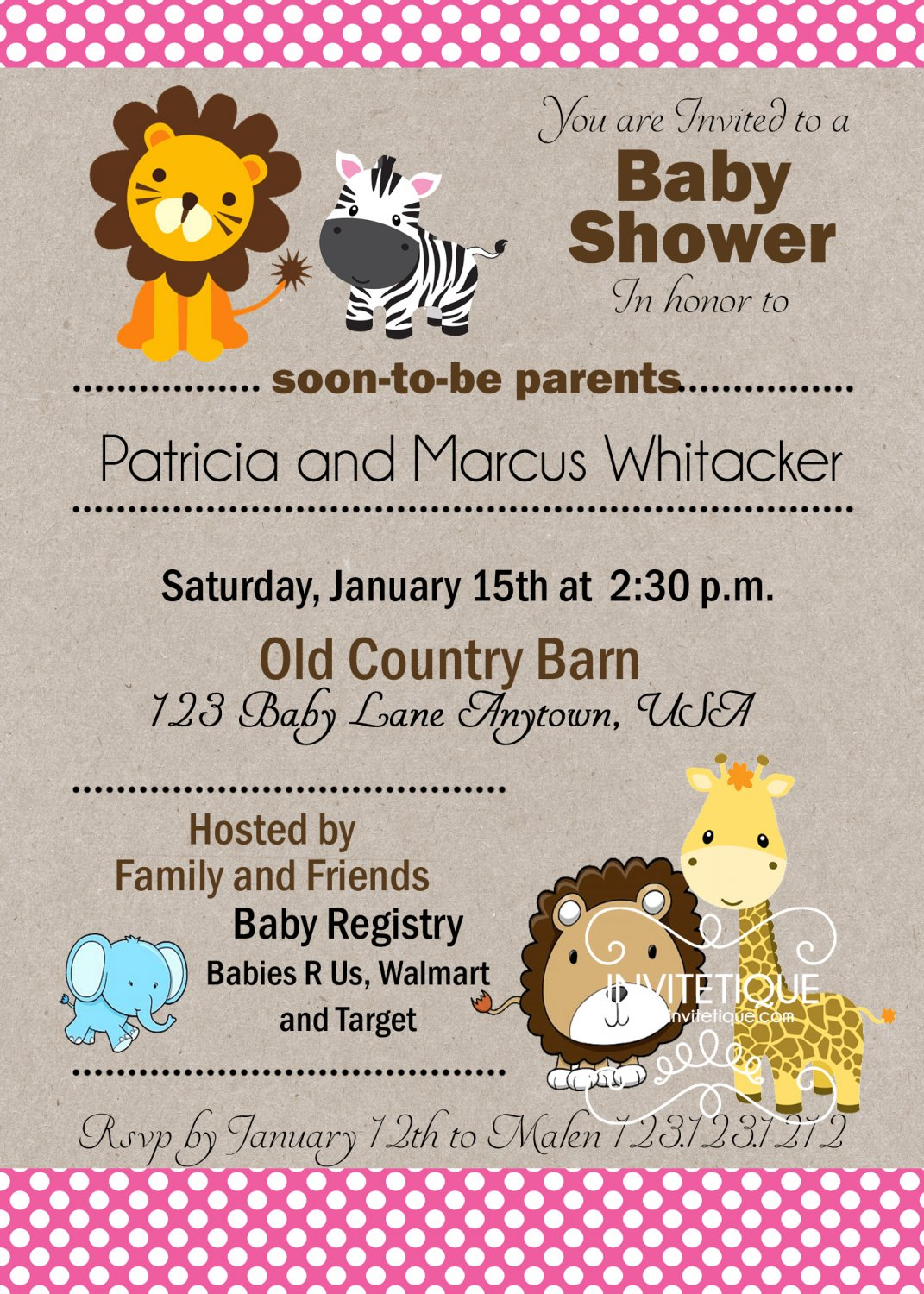 Zoo, Jungle, Safari Animals Pink Polka Dots Baby Shower Invitation - Customizable - Printable