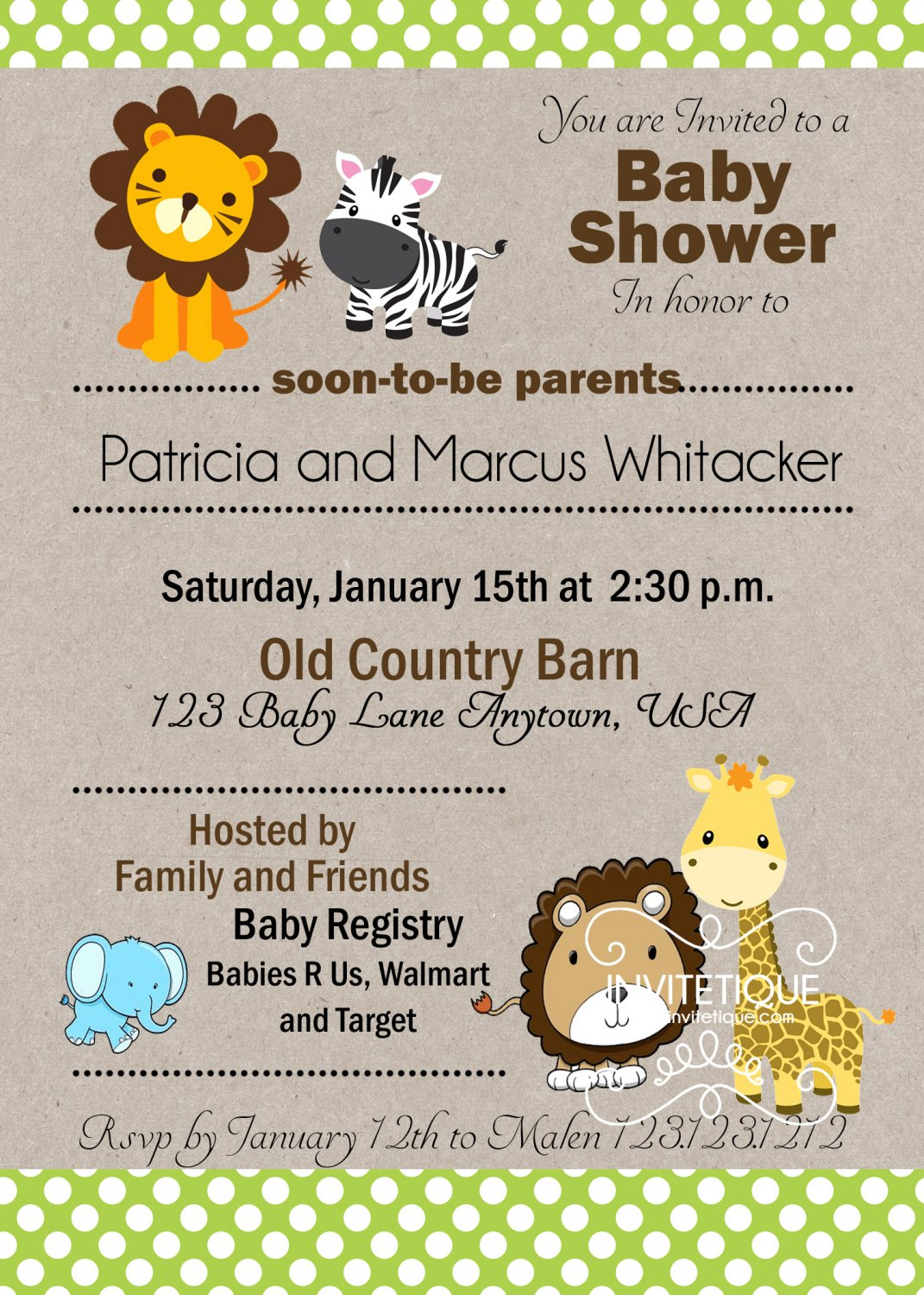 Zoo, Jungle, Safari Animals Green Polka Dots Baby Shower Invitation - Customizable