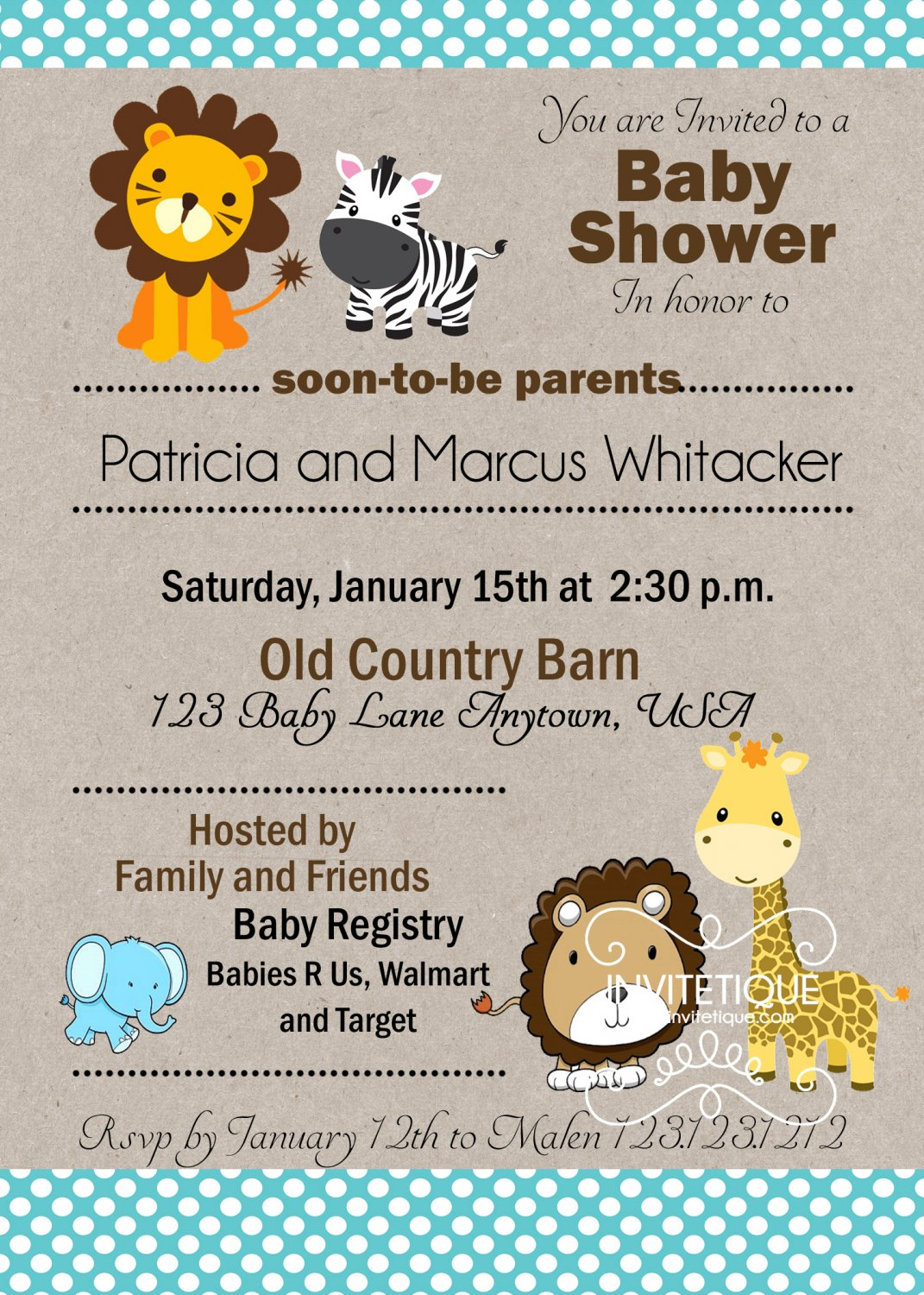 Zoo, Jungle, Safari Animals Blue Polka Dots Baby Shower Invitation - Customizable