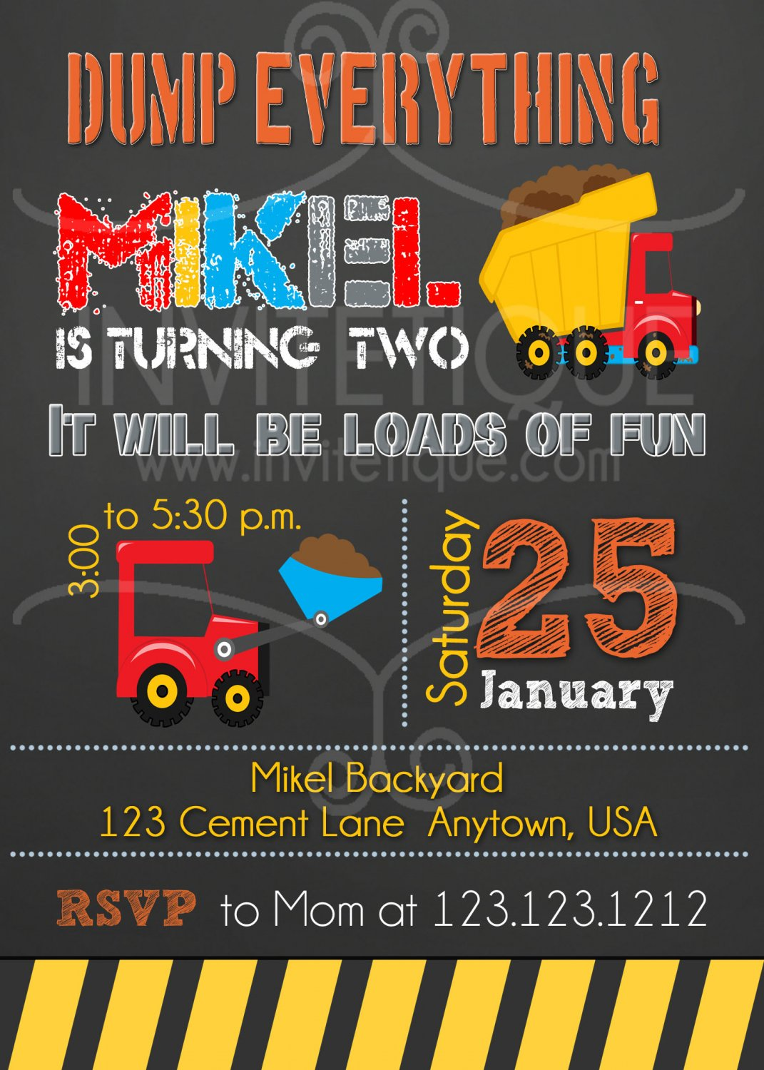 Red Construction invitation chalkboard   construction birthday party