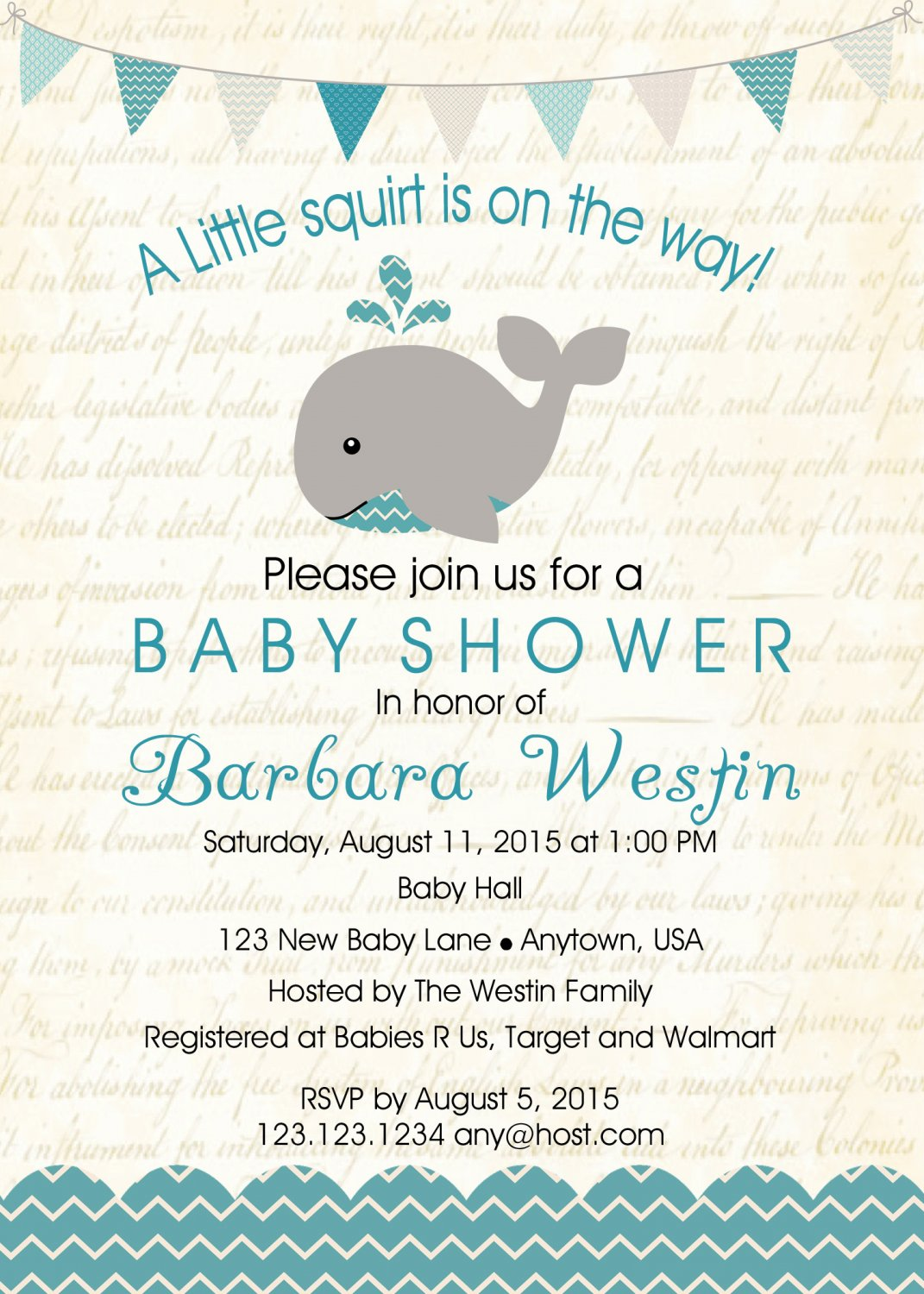 Boy Whale Baby Shower Invitation - Boy Baby Shower - Shower Invites - Under The Sea Party